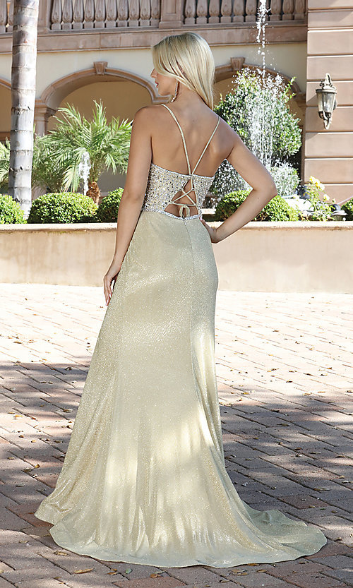 Image of long beaded-bodice formal prom dress in rose gold. Style: DQ-2922 Detail Image 3