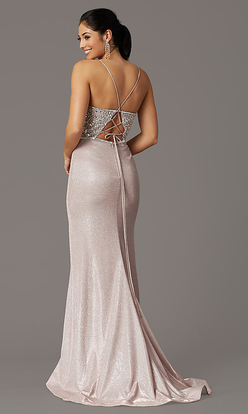 Image of long beaded-bodice formal prom dress in rose gold. Style: DQ-2922 Back Image