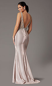 Image of rose gold long prom dress with beaded bodice. Style: DQ-2941 Back Image