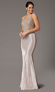 Image of rose gold long prom dress with beaded bodice. Style: DQ-2941 Detail Image 2