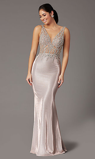 Rose Gold Long Prom Dress with Beaded Bodice