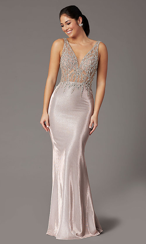 Image of rose gold long prom dress with beaded bodice. Style: DQ-2941 Front Image