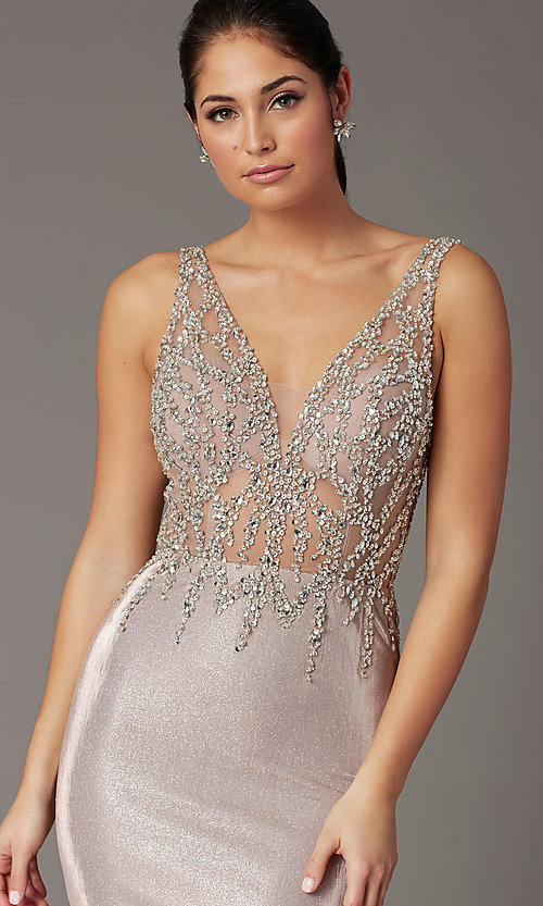 Image of rose gold long prom dress with beaded bodice. Style: DQ-2941 Detail Image 1