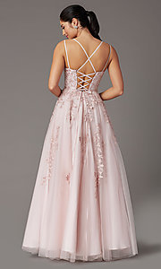 Image of long tulle embroidered prom dress in dusty pink. Style: DQ-2942 Back Image