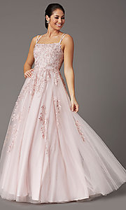 Image of long tulle embroidered prom dress in dusty pink. Style: DQ-2942 Detail Image 2