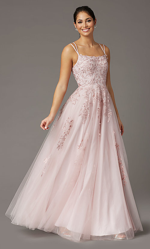 Image of long tulle embroidered prom dress in dusty pink. Style: DQ-2942 Front Image