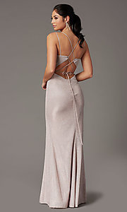 Image of metallic long sparkly formal prom dress with slit. Style: DQ-2947 Back Image