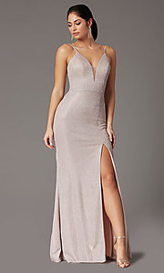 Image of metallic long sparkly formal prom dress with slit. Style: DQ-2947 Detail Image 2