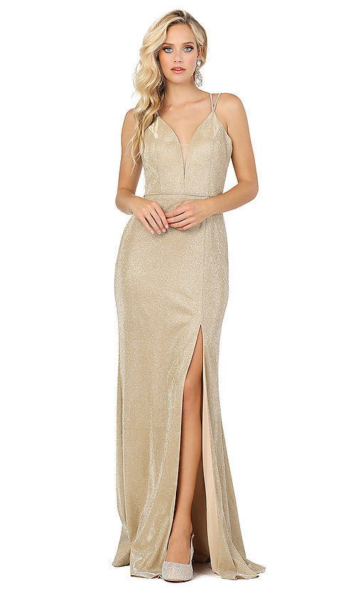 Image of metallic long sparkly formal prom dress with slit. Style: DQ-2947 Detail Image 3