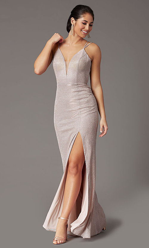Image of metallic long sparkly formal prom dress with slit. Style: DQ-2947 Front Image