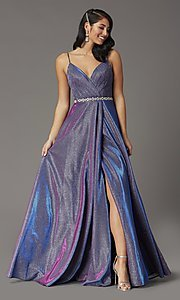 Image of long faux-wrap glitter-knit prom dress. Style: DQ-2955 Front Image