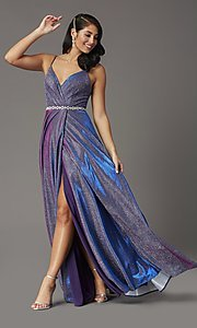 Image of long faux-wrap glitter-knit prom dress. Style: DQ-2955 Detail Image 1
