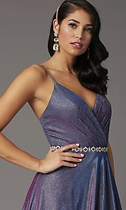 Image of long faux-wrap glitter-knit prom dress. Style: DQ-2955 Detail Image 2
