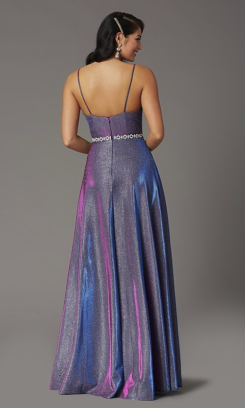 Image of long faux-wrap glitter-knit prom dress. Style: DQ-2955 Back Image