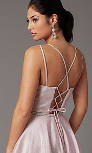 Image of long sparkly formal prom dress with corset. Style: DQ-2958 Detail Image 5