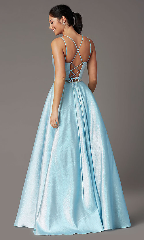 Image of long sparkly formal prom dress with corset. Style: DQ-2958 Back Image