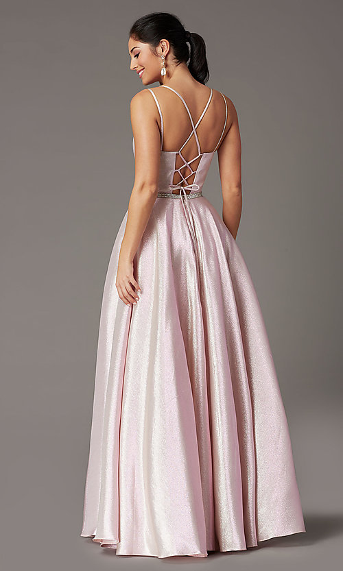Image of long sparkly formal prom dress with corset. Style: DQ-2958 Detail Image 4