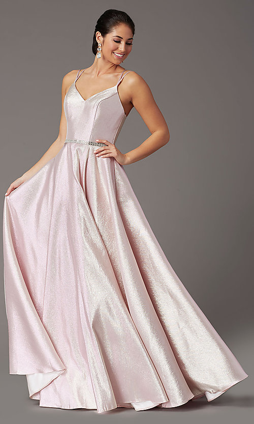 Image of long sparkly formal prom dress with corset. Style: DQ-2958 Detail Image 6
