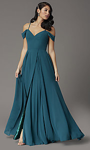 Image of off-the-shoulder long prom dress in hunter green. Style: DQ-2961 Detail Image 2