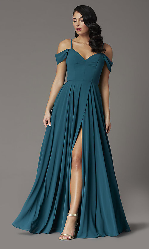 Image of off-the-shoulder long prom dress in hunter green. Style: DQ-2961 Front Image
