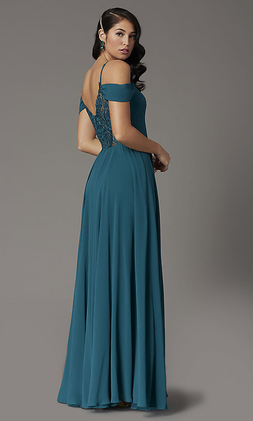Image of off-the-shoulder long prom dress in hunter green. Style: DQ-2961 Back Image