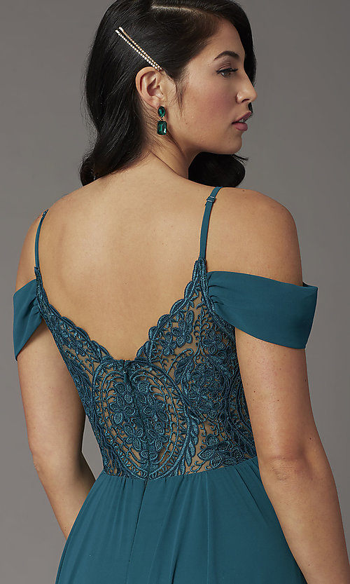 Image of off-the-shoulder long prom dress in hunter green. Style: DQ-2961 Detail Image 1