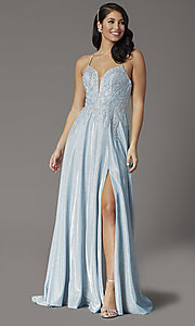 Image of embroidered-bodice long glitter formal prom dress. Style: DQ-2968 Front Image