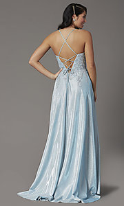 Image of embroidered-bodice long glitter formal prom dress. Style: DQ-2968 Back Image