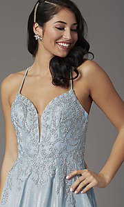 Image of embroidered-bodice long glitter formal prom dress. Style: DQ-2968 Detail Image 1