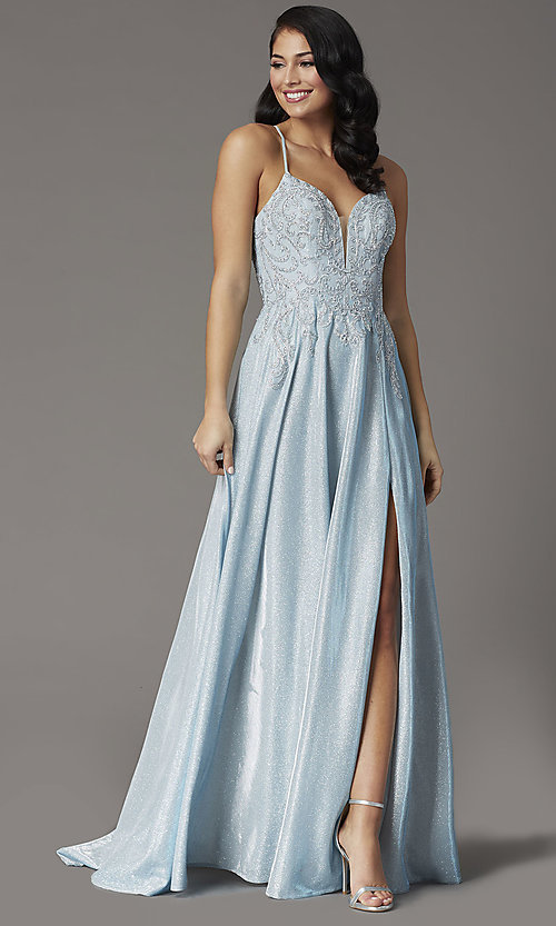 Image of embroidered-bodice long glitter formal prom dress. Style: DQ-2968 Detail Image 2