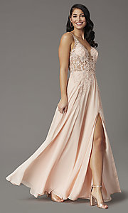 Image of embroidered-bodice long v-neck illusion prom dress. Style: DQ-2982 Detail Image 2