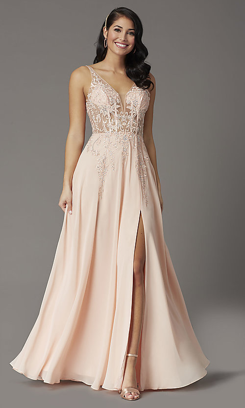 Image of embroidered-bodice long v-neck illusion prom dress. Style: DQ-2982 Front Image
