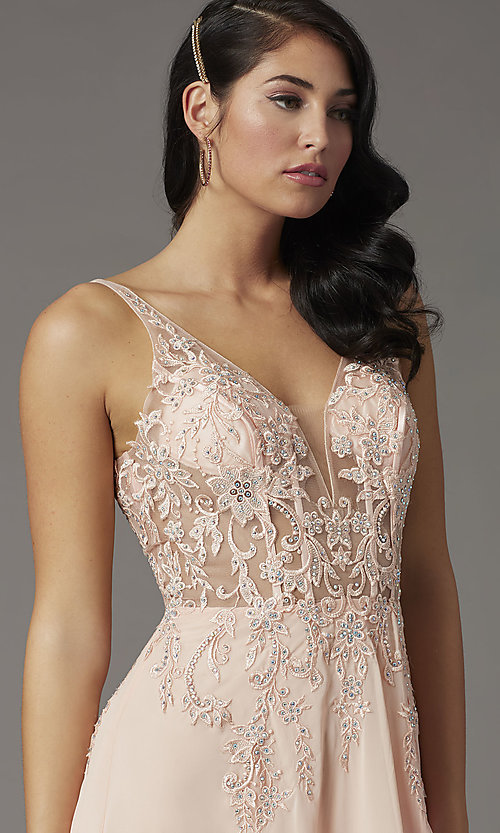Image of embroidered-bodice long v-neck illusion prom dress. Style: DQ-2982 Detail Image 1