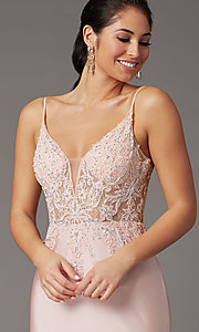 Image of embroidered-bodice long blush pink prom dress. Style: DQ-4001 Detail Image 1
