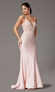 Image of embroidered-bodice long blush pink prom dress. Style: DQ-4001 Detail Image 2