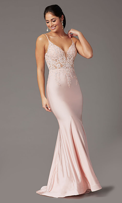Image of embroidered-bodice long blush pink prom dress. Style: DQ-4001 Front Image