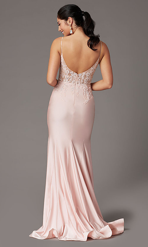 Image of embroidered-bodice long blush pink prom dress. Style: DQ-4001 Back Image