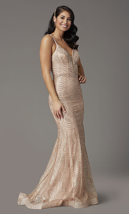 Image of open-back long glitter-embellished prom dress. Style: DQ-4007 Front Image