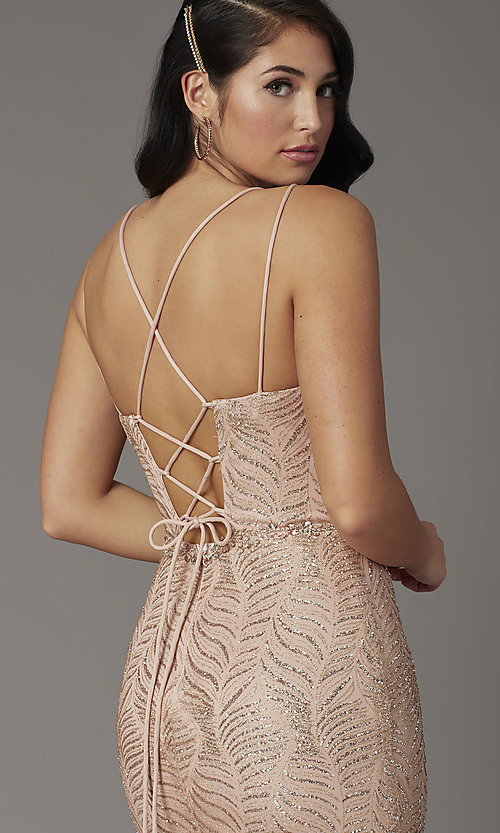 Image of open-back long glitter-embellished prom dress. Style: DQ-4007 Detail Image 1