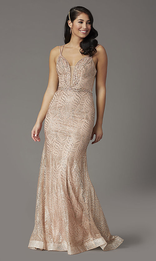 Image of open-back long glitter-embellished prom dress. Style: DQ-4007 Detail Image 2
