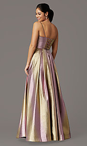 Image of iridescent long formal prom dress with pockets. Style: DQ-4016 Back Image