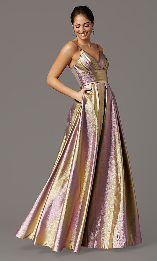 Image of iridescent long formal prom dress with pockets. Style: DQ-4016 Front Image