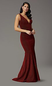 Image of sleeveless long metallic glitter formal prom dress. Style: DQ-4020 Detail Image 2