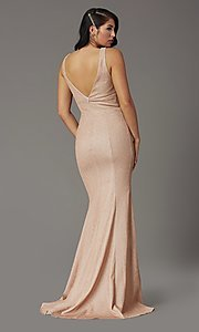 Image of sleeveless long metallic glitter formal prom dress. Style: DQ-4020 Detail Image 7