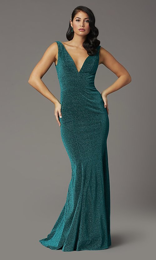 Image of sleeveless long metallic glitter formal prom dress. Style: DQ-4020 Detail Image 3