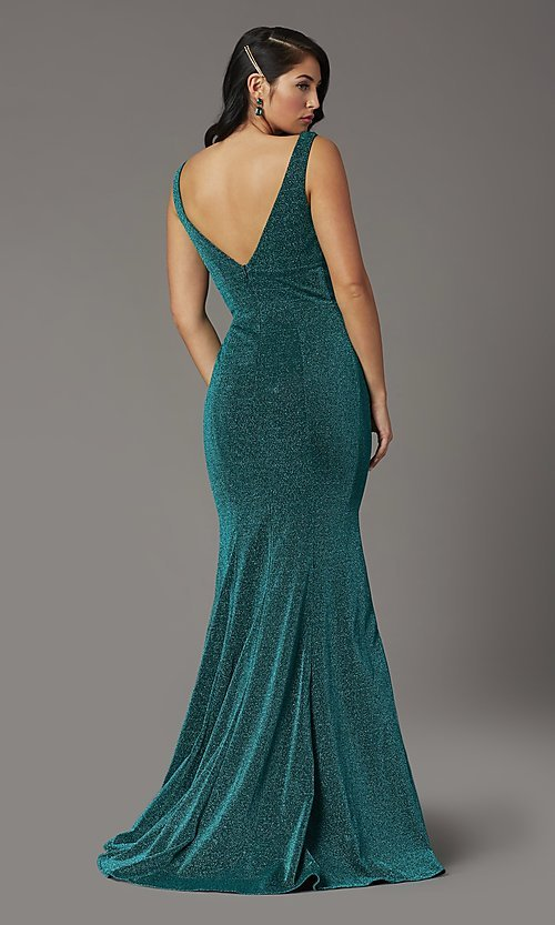 Image of sleeveless long metallic glitter formal prom dress. Style: DQ-4020 Detail Image 4