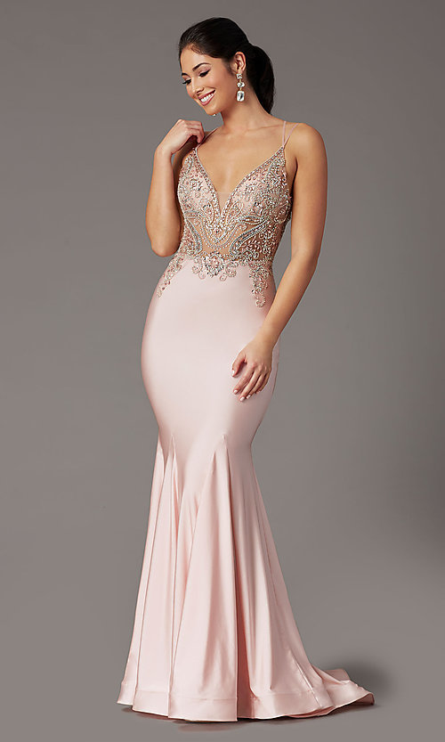 Image of long formal prom dress with beaded-illusion bodice. Style: DQ-4060 Front Image