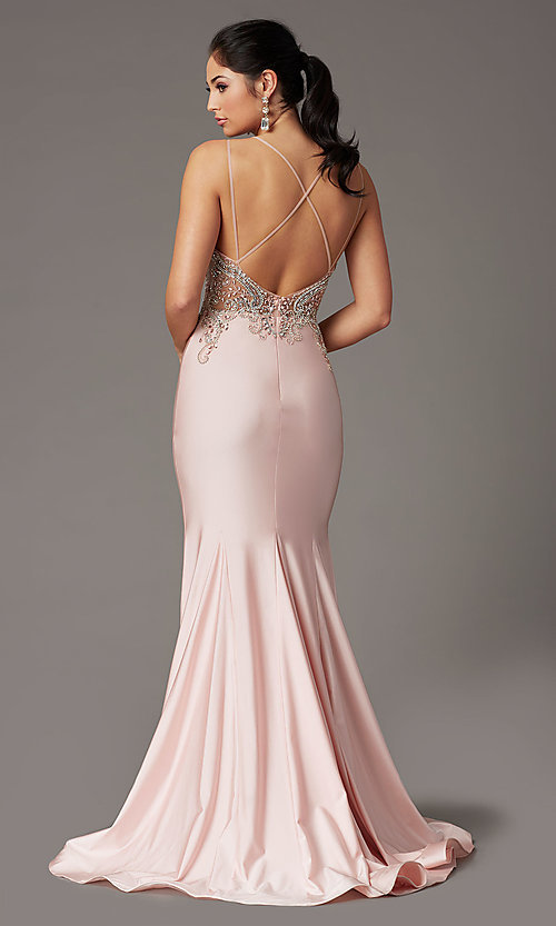 Image of long formal prom dress with beaded-illusion bodice. Style: DQ-4060 Back Image