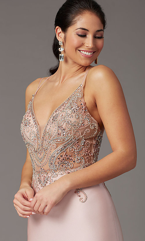 Image of long formal prom dress with beaded-illusion bodice. Style: DQ-4060 Detail Image 1