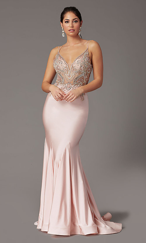 Image of long formal prom dress with beaded-illusion bodice. Style: DQ-4060 Detail Image 2